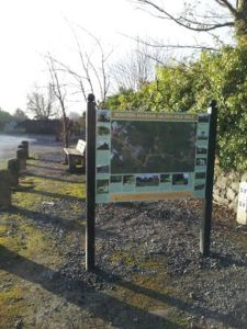 Here's our new sign  near our last Golden Mile, the Demesne Walk.  Hope you like it. It contains an arial map, and photos of the mile, and on the reverse it details wildflowers found on the mile, and fish found in the stream, as well as local history for your interest. Hope you like it.